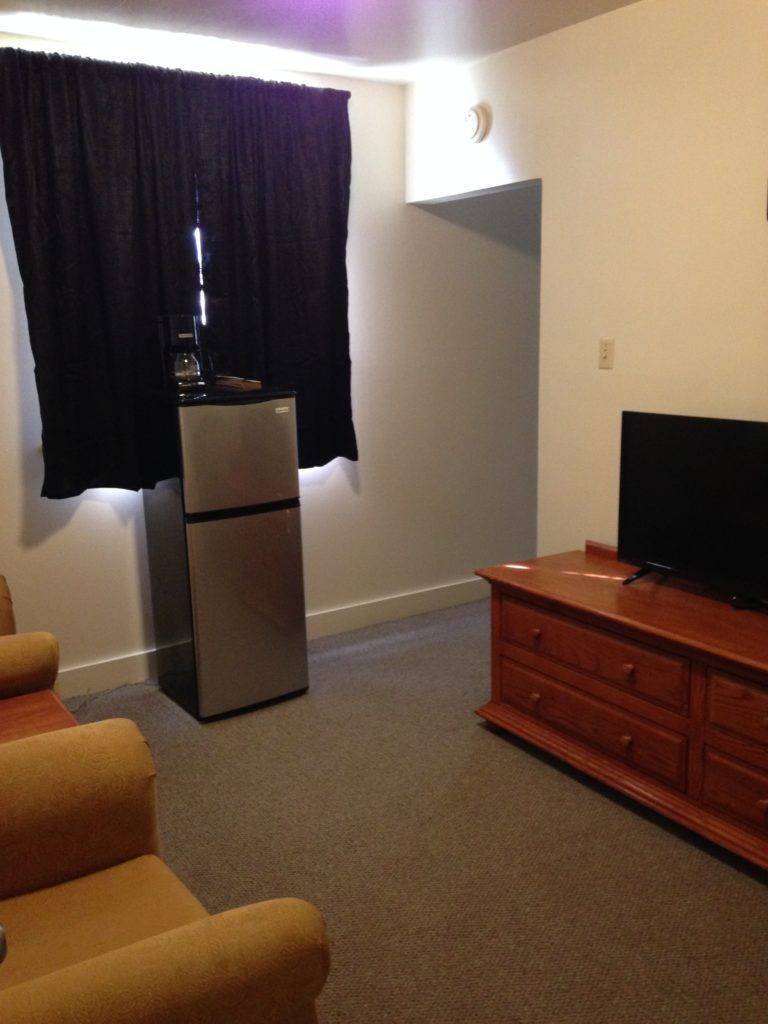Remodeled room with television, refrigerator and chairs