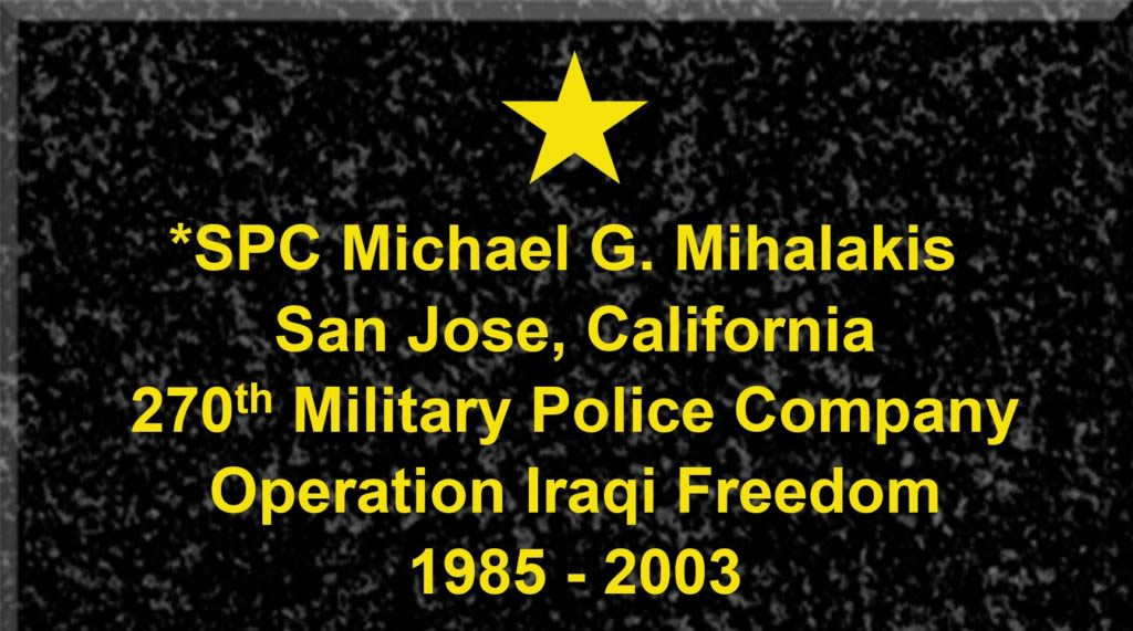 Plaque of Specialist Michael G. Mihalakis