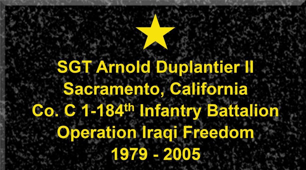 Plaque of Sergeant Arnold Duplantier