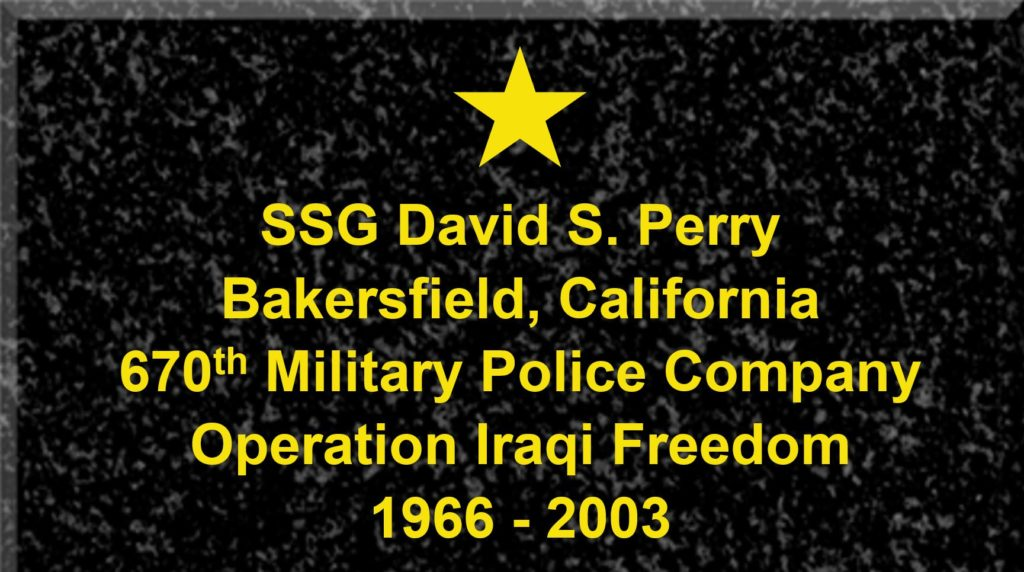 Plaque of Staff Sergeant David S. Perry