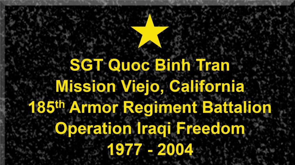 Plaque of Sergeant Quoc Binh Tran