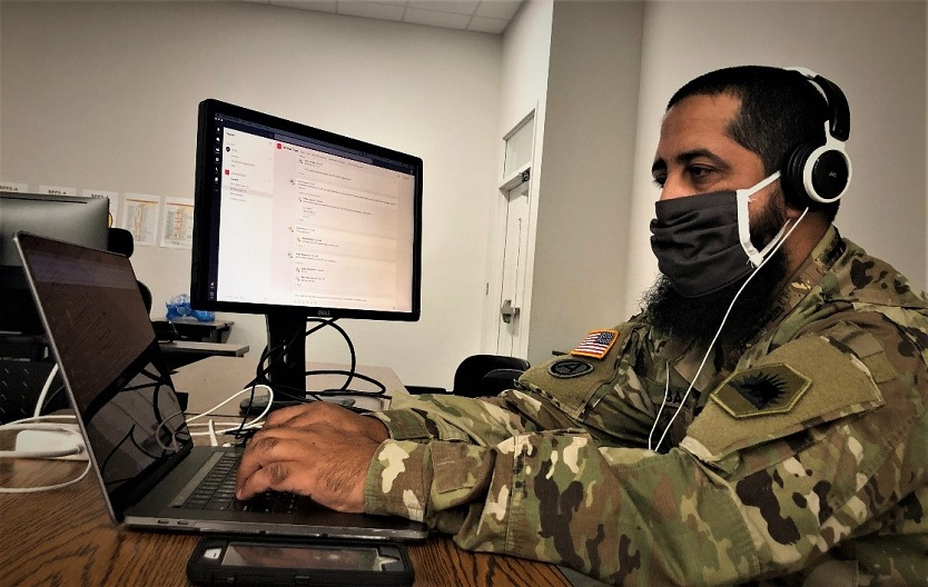 Soldier working with computers